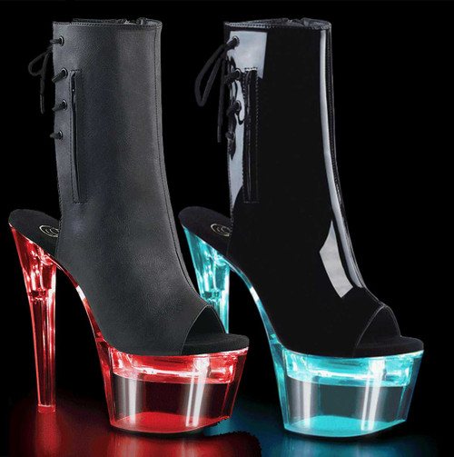 Exotic Dancer Lights-up Open Toe/Back Ankle Boots Flashdance-1018-7 by Pleaser