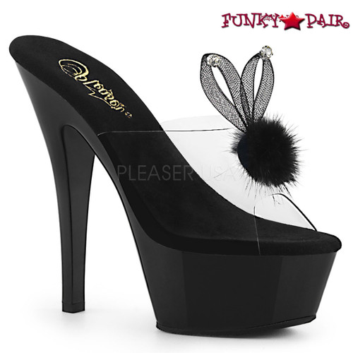 Pleaser | Kiss-201BUNNY, Platform Slide with Bunny Ear color black