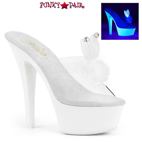 Pleaser | Kiss-201BUNNY, Platform Slide with Bunny Ear color clear