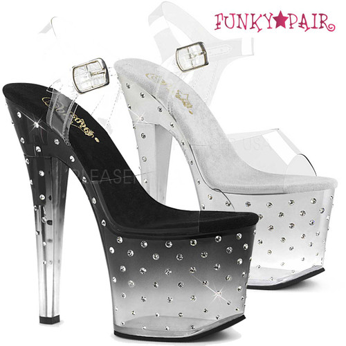 Pleaser | Radiant-708T, Rhinestones and Tinted Platform Sandal