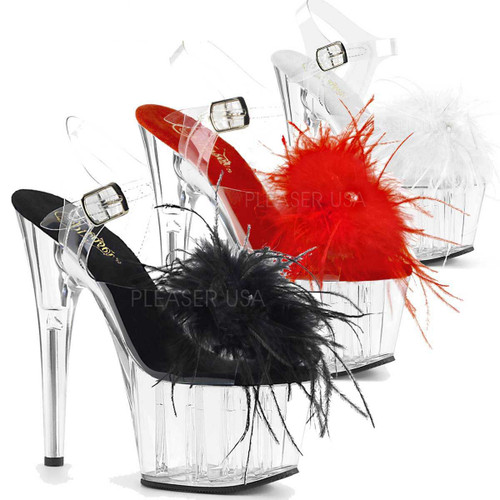 Pleaser | Adore-708MF, Ankle Strap Marabou Platform Sandal color available: Black, Red and White