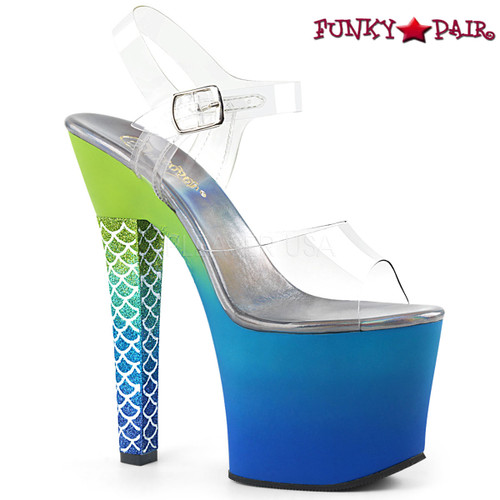 Pleaser | Ariel-708Ombre, Thick Heel Mermaid Scale Ombre Platform Sandal color Blue