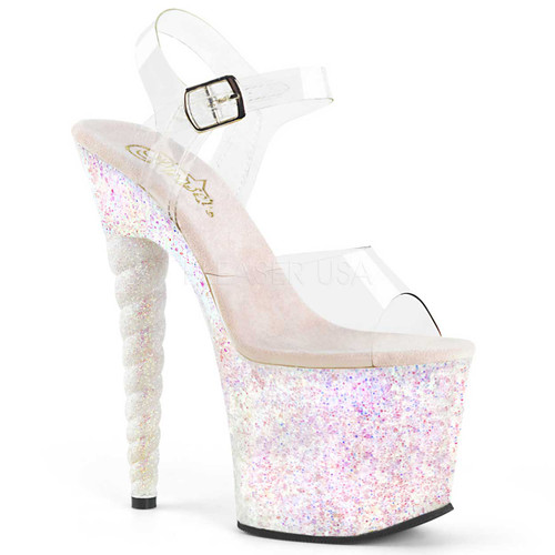 Pleaser | Unicorn-708LG, Glitter Platform Sandal with Unicorn Heel @FunkyPair.com