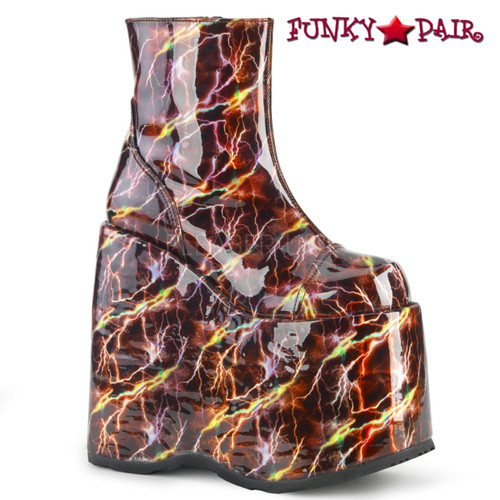 Demonia Boots | Slay-204BLH, Rave Platform with Lightning Print