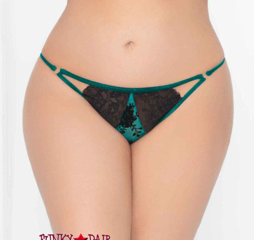 STM-10936X, Plus Size Flocked Mesh and Lace Open Crotch Panty | Seven 'til Midnight color green