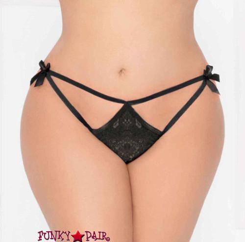 STM-10935X, Plus size Lace Open Crotch Thong   Seven 'til Midnight color black