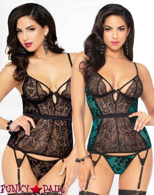 STM-10925, Mesh and Lace Bustier Set | Seven 'til Midnight