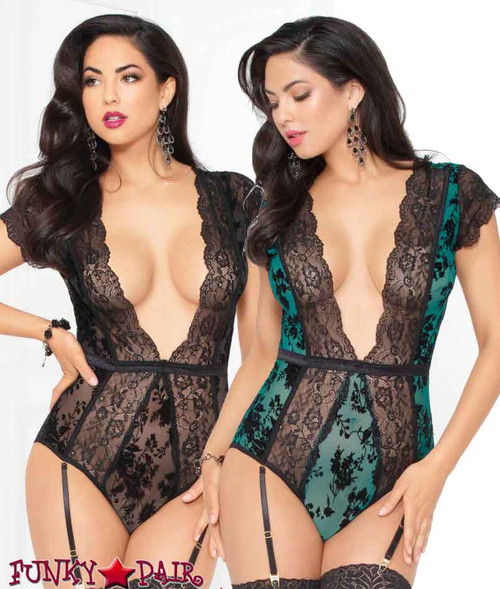 STM-10940, Flocked Mesh and Lace Teddy | Seven 'til Midnight
