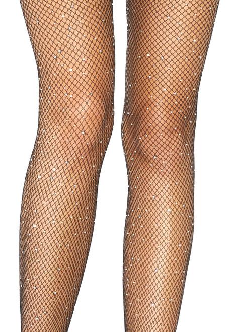 LA9108, Crystalized Fishnet Suspender Pantyhose close up