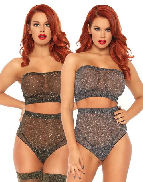 Leg Avenue | LA81571, Shimmer Spandex Bandeau Top and Panty color available: Black/Gold, Black/Silver