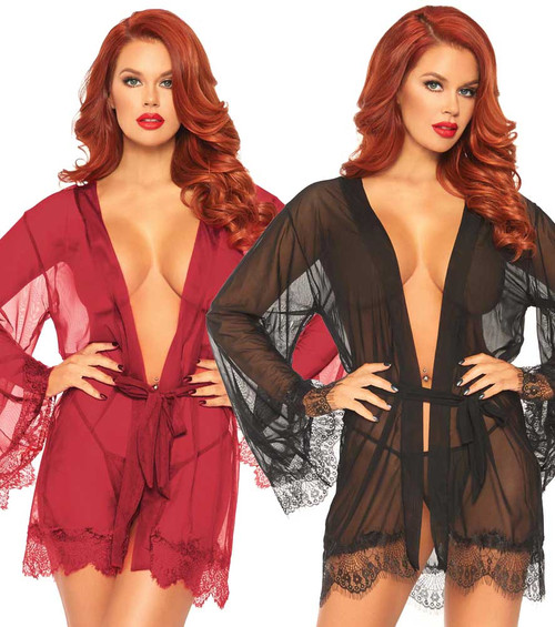 Leg Avenue | LA86107, Sheer Short Robes color available: Burgundy, Black