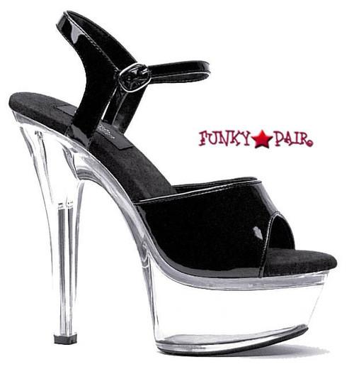 601-Juliet-C, Platform Clear Heel Sandal color Black/Clear