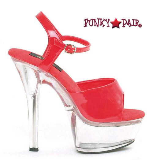601-Juliet-C, Platform Clear Heel Sandal Color Red/Clear