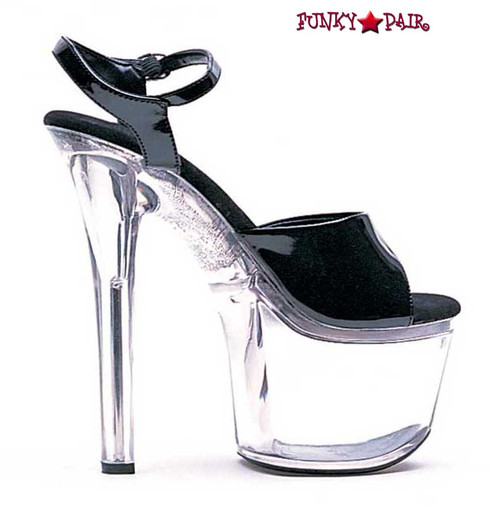 Ellie Shoes | 711-Flirt-C - 7 Inch Ankle Strap Platform Sandal color black/clear