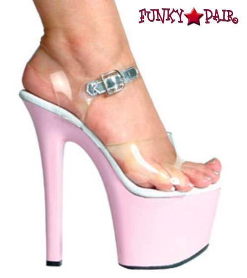 Ellie Shoes | 711-Flirt-C - 7 Inch Ankle Strap Platform Sandal color pink