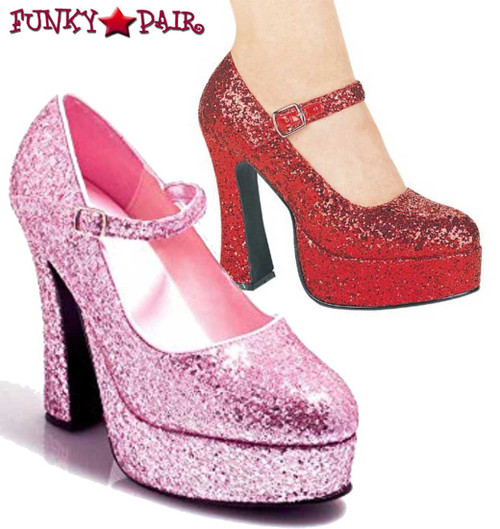 5 Inch Glitter Maryjane Shoes | Ellie Shoes 557-Eden-G | FunkyPair.com