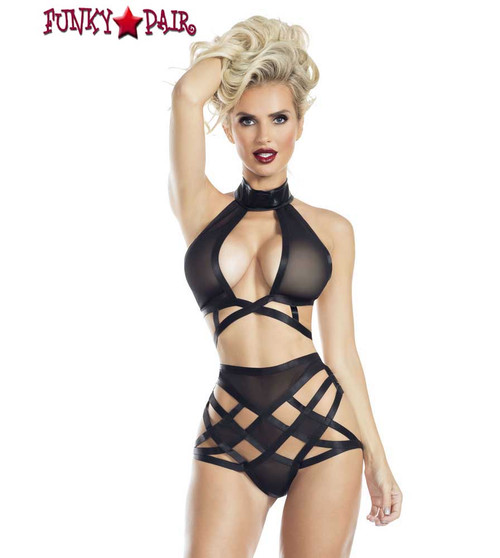 RaveWear | AB8080, Mesh Strappy Top and Bottom Lingerie | FunkyPair.com