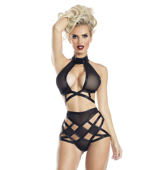 RaveWear | AB8080, Mesh Strappy Top and Bottom Lingerie