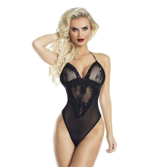Lace and Mesh Halter Teddy RaveWear Lingerie