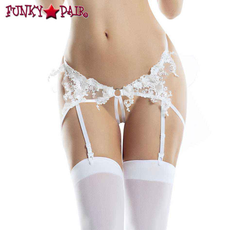 White Crotchless Panty with Back Veil Lingerie | FunkyPair