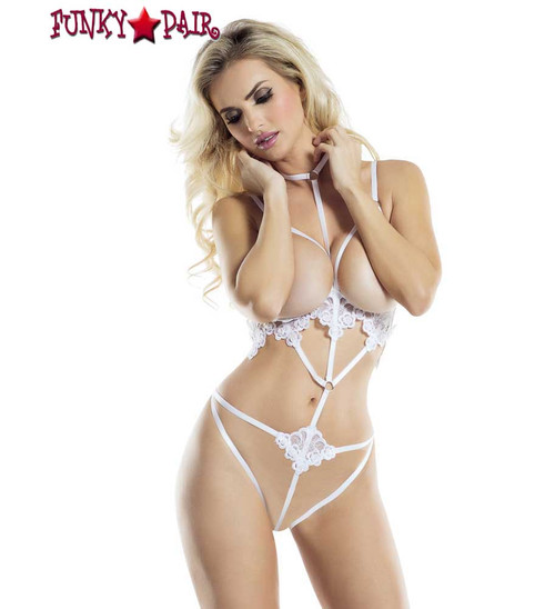 Rave Wear Cage Harness with Floral Detail Lingerie | FunkyPair.com