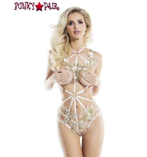 RaveWear | AB6090, Embroidery Cage Teddy Lingerie |  FunkyPair.com