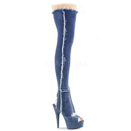 Pleaser | Delight-3030, Open Toe and Back Denim Thigh High Boots