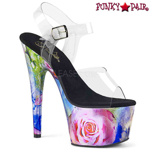 Pleaser Shoes | Adore-708MRP, Rose Print Sandal | FunkyPair.com