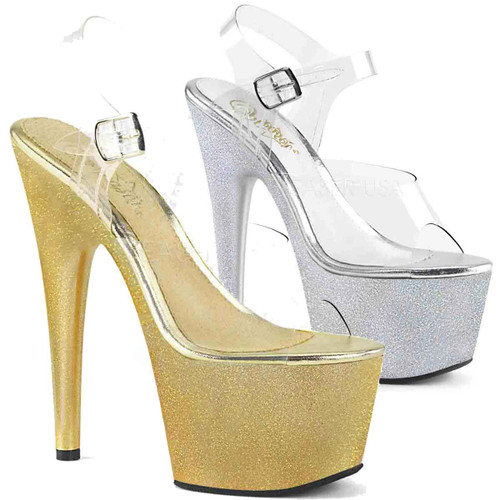 Pleaser | Adore-708HG, Extra Fine Holographic Glitter Dust Ankle Strap Sandal color available: gold, silver