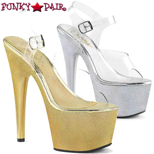 Pleaser | Adore-708HG, Extra Fine Holographic Glitter Dust Ankle Strap Sandal | FunkyPair