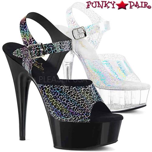 Pleaser | Delight-608N-CK, Cracker Holographic Print Ankle Strap Sandal | FunkyPair