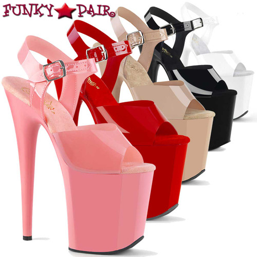 "Pleaser | Flamingo-808N, 8"" Jelly Like Ankle Strap Platform Sandal"