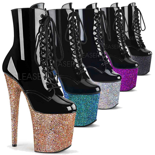 Pleaser | Flamingo-1020LG, Multi Glitter Platform Ankle Boots color available: Silver, Blue, Purple, Black, Rose Gold