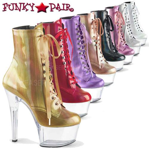 Pleaser | Aspire-1020BHG, Hologram Ankle Boots | FunkyPair.com