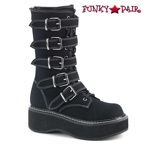 Demonia | EMILY-341, Multi-Straps Mid-Calf Boots