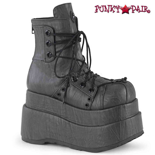 Demonia Boots | BEAR-120, Ankle Wedge Boots with Eyelet Panel