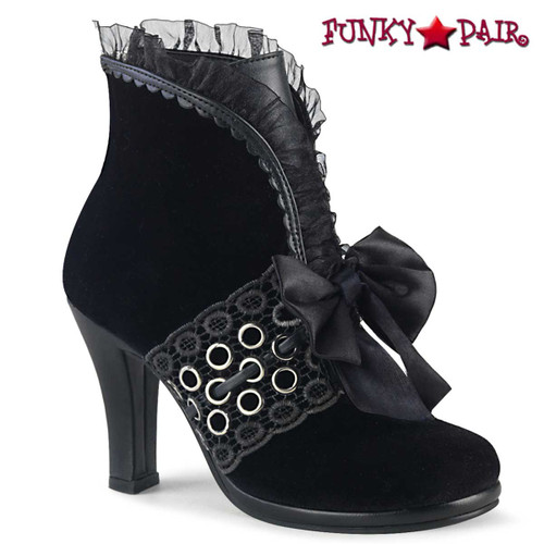Women Demonia Boots | GLAM-110, Ankle Boots with Lace and Grommets