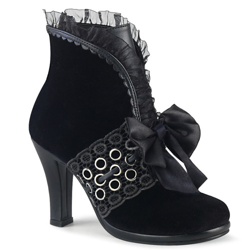 GLAM-110, Ankle Boots with Lace and Grommets   Women Demonia Boots