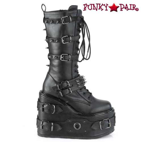 Side View SWING-327, Platform Wedge Knee High Boots with Spike Buckles | Demonia