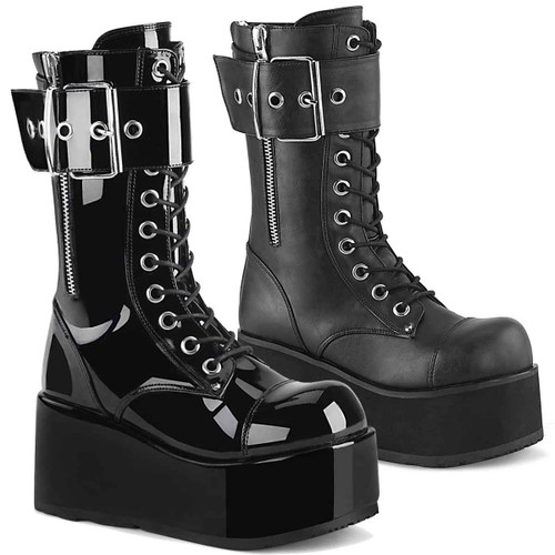 PETROL-150, Men's Punk Oversized Buckles Mid-Calf Boots by Demonia