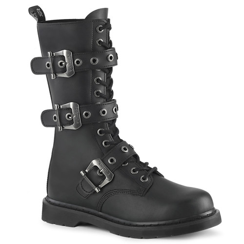 BOLT-330, Mid-Calf Lace up Combat Boots with Buckles Men's Demonia |