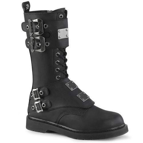Mid-Calf Lace up Combat Boots with Metal Plates Men's Demonia | BOLT-345,