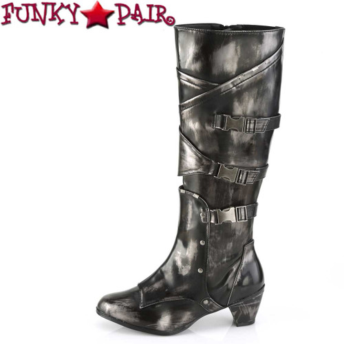 Side View MAIDEN-8820, Cosplay Knee High Boots with Metal Buckles | Funtasma