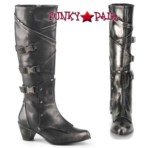 Funtasma | MAIDEN-8820, Cosplay Knee High Boots with Metal Buckles