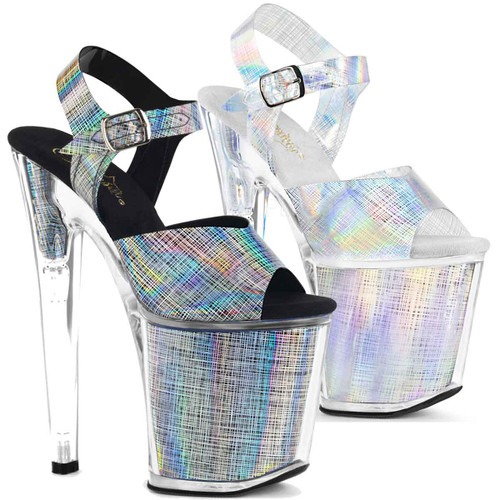 Pleaser Shoes | XTREME-808N-CRHM, Ankle Strap with Crosshatch Design color available: black, silver