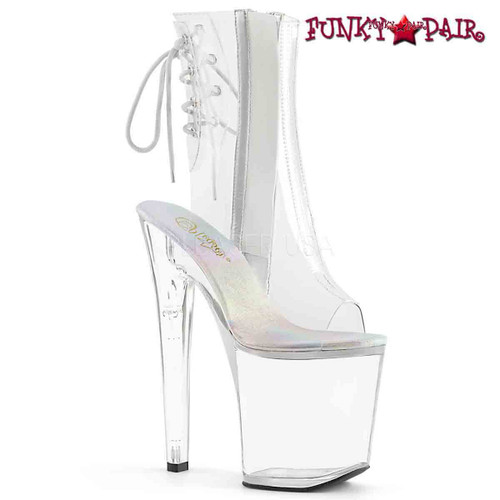 Pleaser | XTREME-1018C, Clear Ankle Boot with Front Cut out