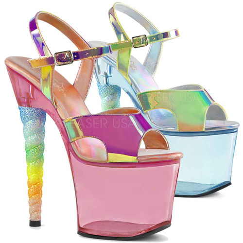 Pleaser Shoes | UNICORN-711T, Ombre Glitter Unicorn Heel Ankle Strap Sandal color available: light blue, pink