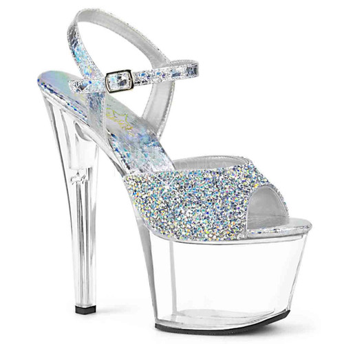 Pleaser Shoes | SKY-309RS, Platform Sandal with Rhinestones on Vamp