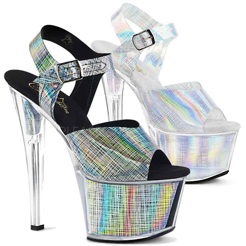 7 Inch Exotic Dancer Shoes | SKY-308N-CRHM, Crosshatch Platform Ankle Strap Sandal