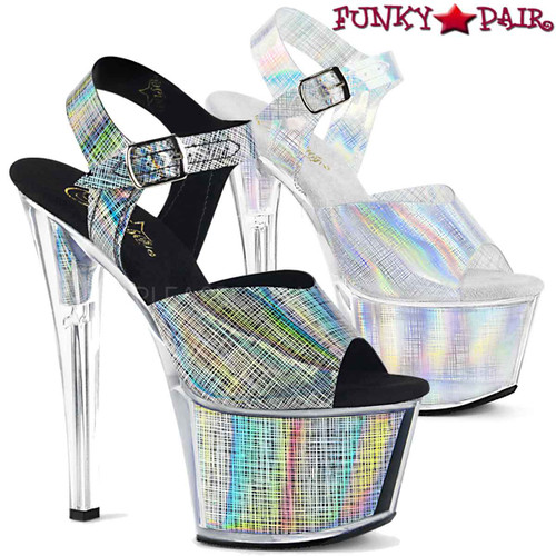 Pleaser Shoes 7 Inch | SKY-308N-CRHM, Crosshatch Platform Ankle Strap Sandal